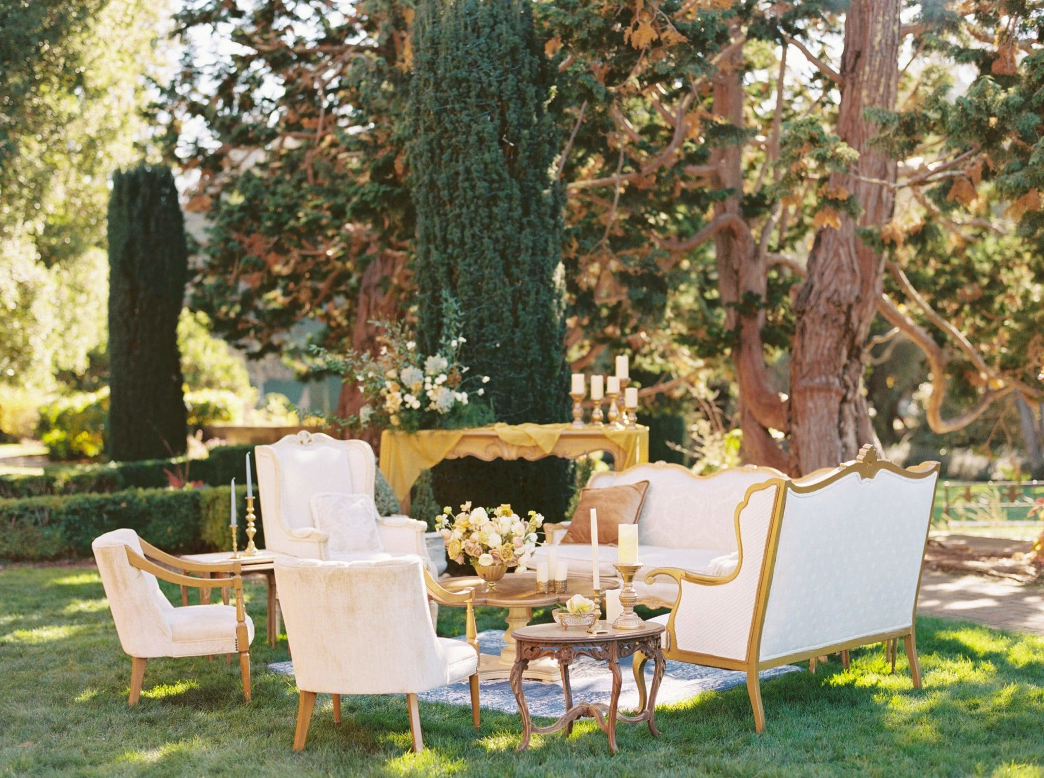 A romantic Tuscan inspired set up on the Upper West Lawns.